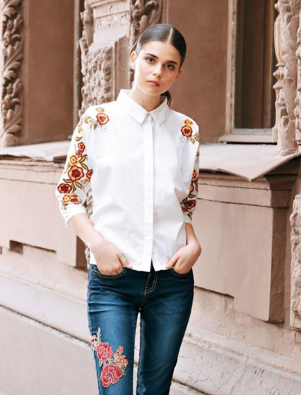 White Embroidered Tops