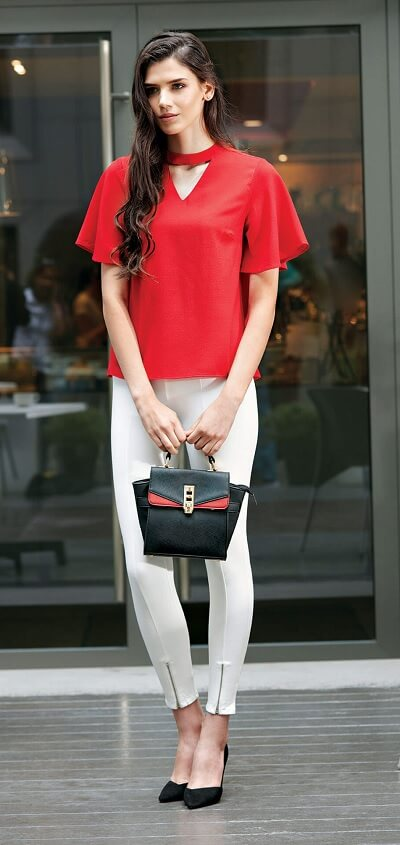 Red Ball Sleeves Top