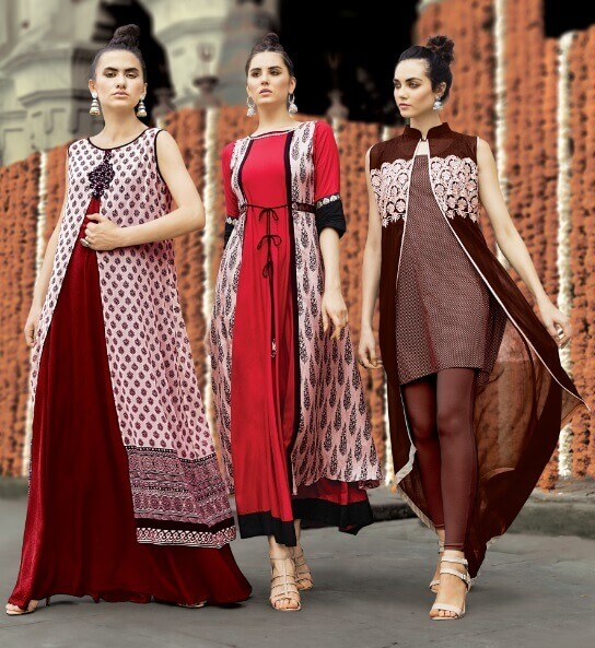 Red Layered Ethnic Kurta