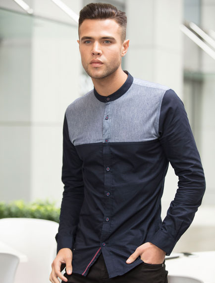 Black Paneled Shirt